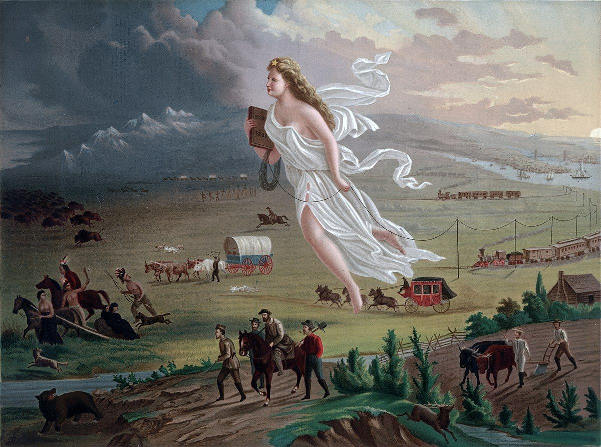 圖為《美利堅向前行》,象徵天使帶著「文明」與拓荒者一同西行。印地安人逃入前方的黑暗中。