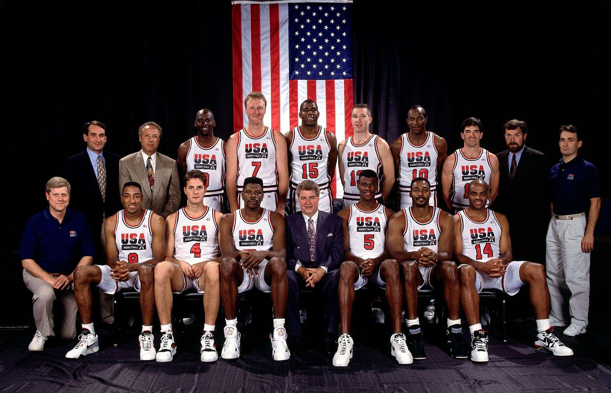 喬丹、皮朋、魔術強森、惡漢巴克利、海軍上將羅賓森、大鳥柏德、滑翔機崔斯勒、郵差馬龍⋯⋯,12 位成員中有 11 位已經進入籃球名人堂。(維基百科)