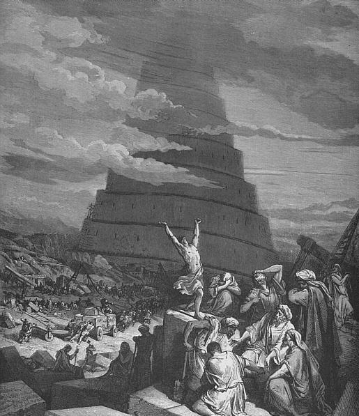 圖片為《語言的淆亂》,背景是巴別塔(Tower of Babel)。