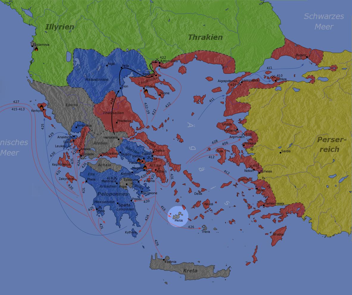 紅色為雅典陣營、藍色為斯巴達陣營、圈選處為米洛斯島。(維基百科)