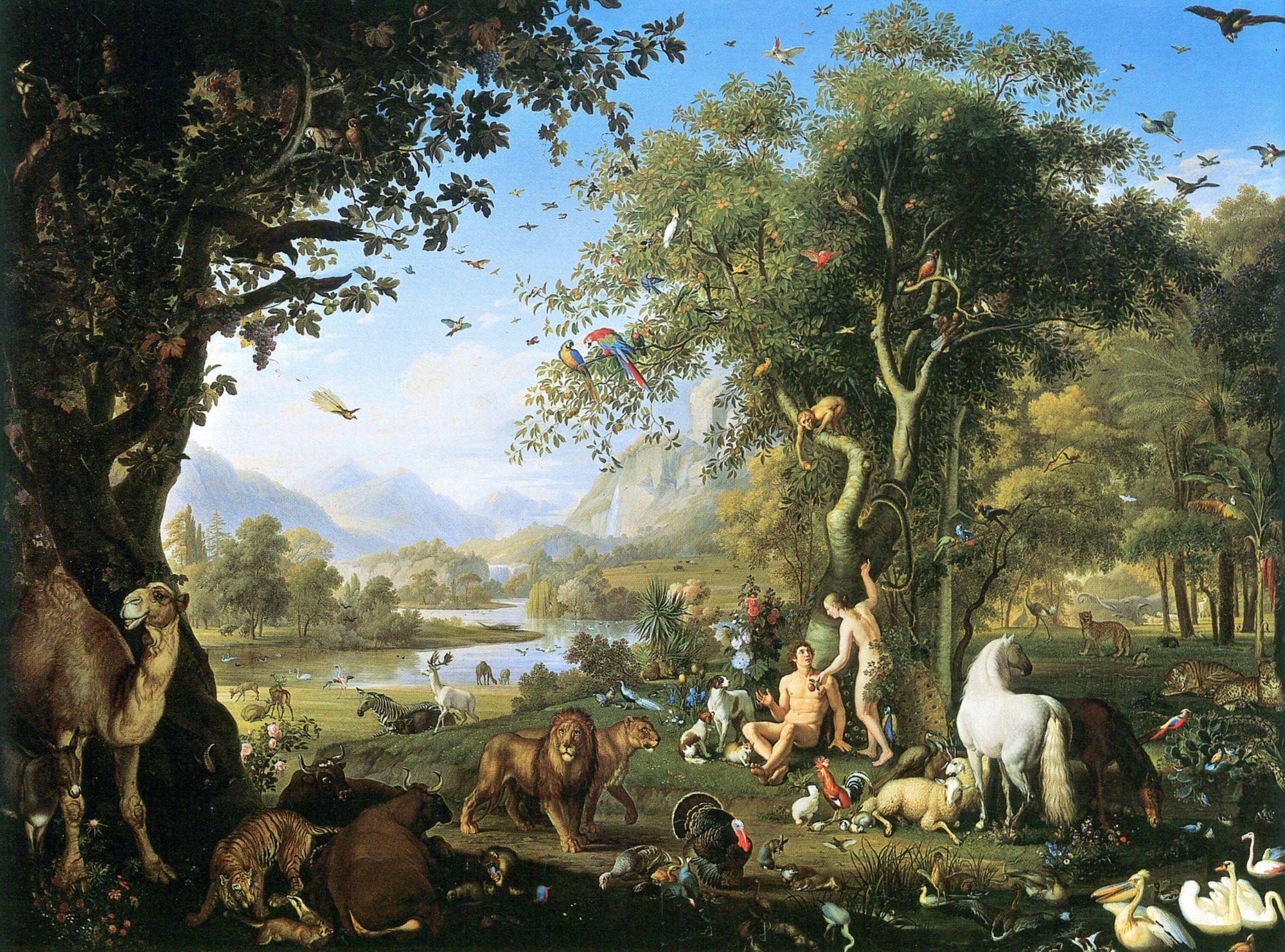 亞當和夏娃因為吃了「知善惡樹」的果實,獲得了智慧,被上帝趕出伊甸園。